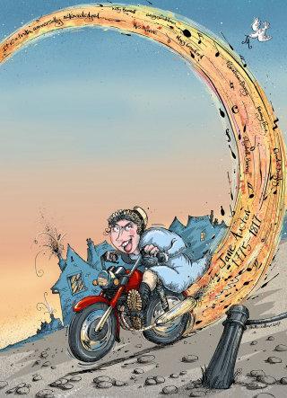 Poster art of Jane Austen riding a motorbike