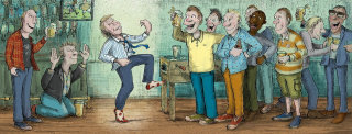 Illustration for a drunk man dancing in the party