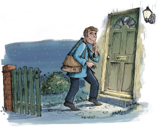 Watercolour painting of man enter into the house