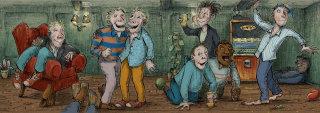 Illustration for group of drunk men
