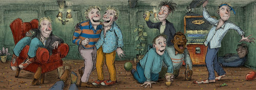 Illustration for group of drunk men