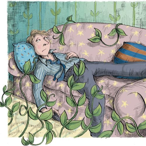 Illustration of dozing man on the couch