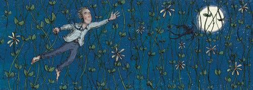 Man swings through vines children illustration