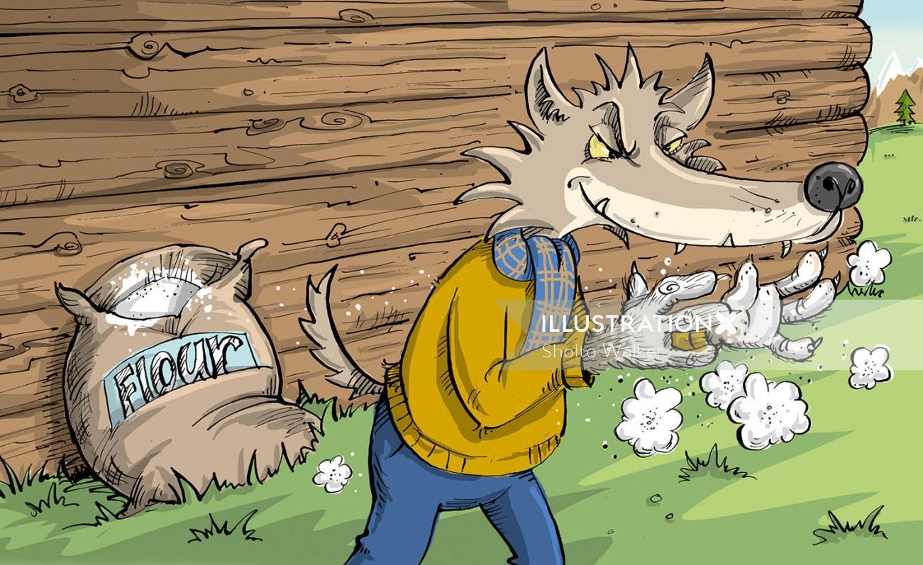 Children illustration of anthropomorphic wolf
