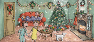 Illustration for a happy family celebrating Christmas