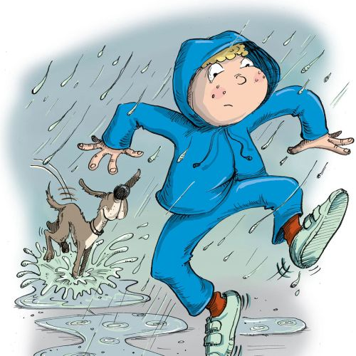 Boy and his dog jumping in puddles