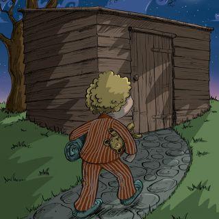 Fairy tale art of boy walks to scary shed