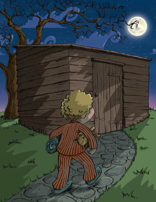 Fairy tale art of boy walks to scary shed