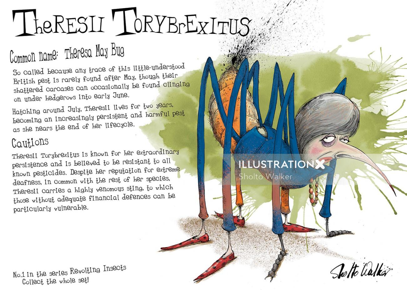 Cartoon & Humour  Theresa May as a monstrous insect