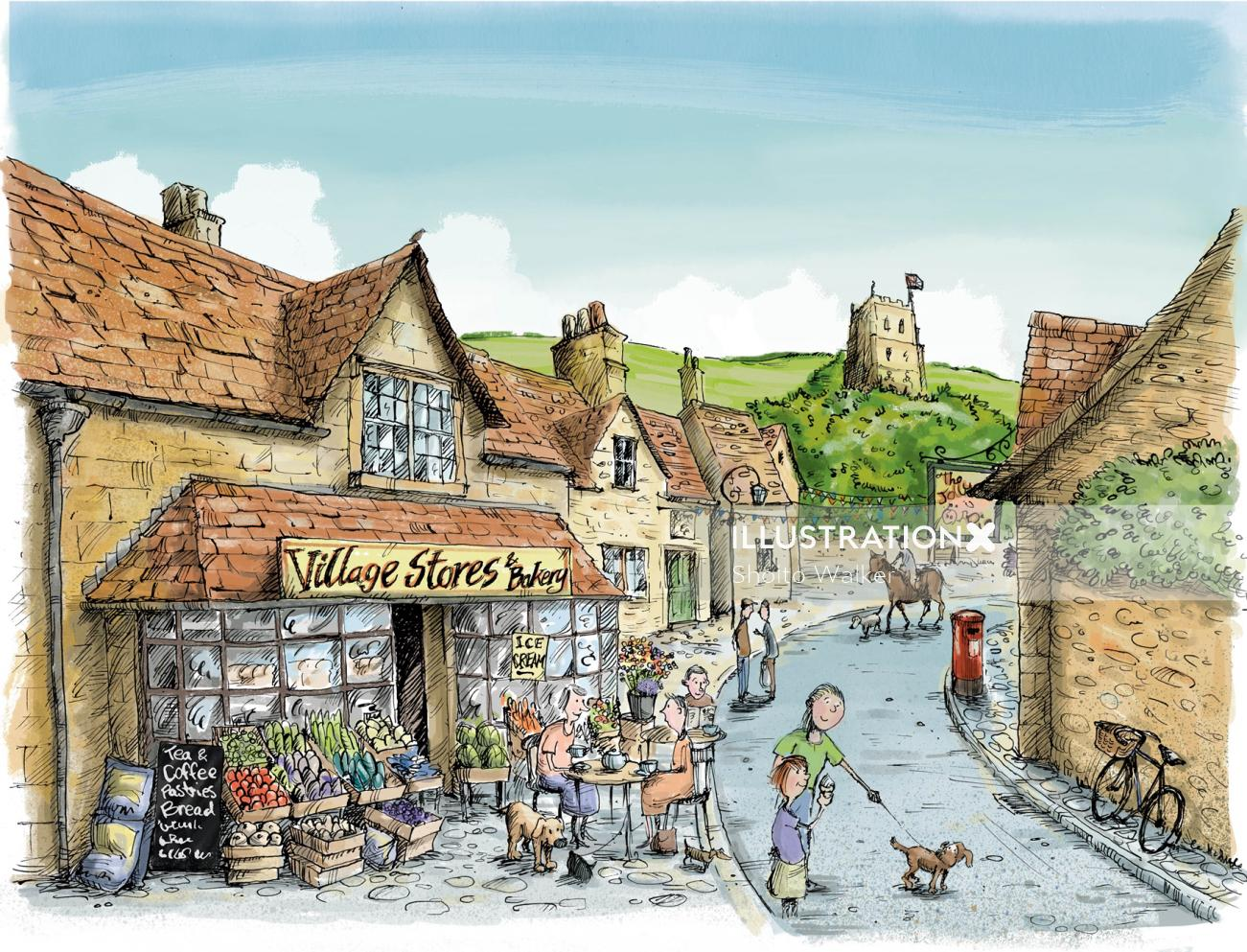 Computer Generated Traditional English Village street