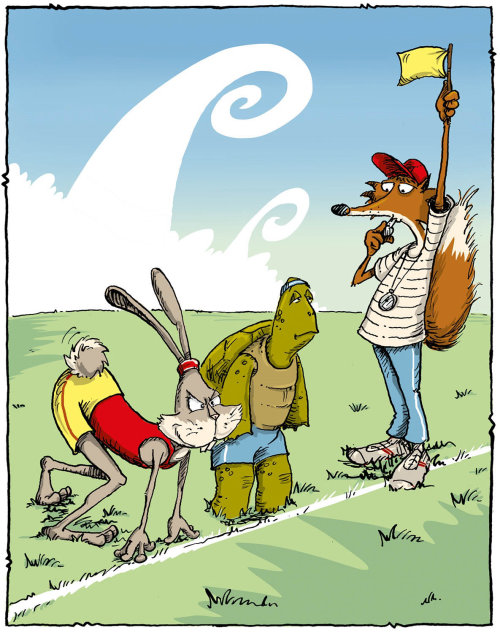 Cartoon & Humour A tortoise and Hare