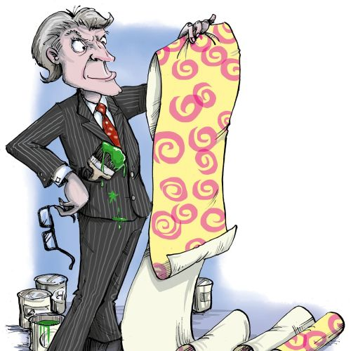Cartoon & Humour  Business man in smart suit