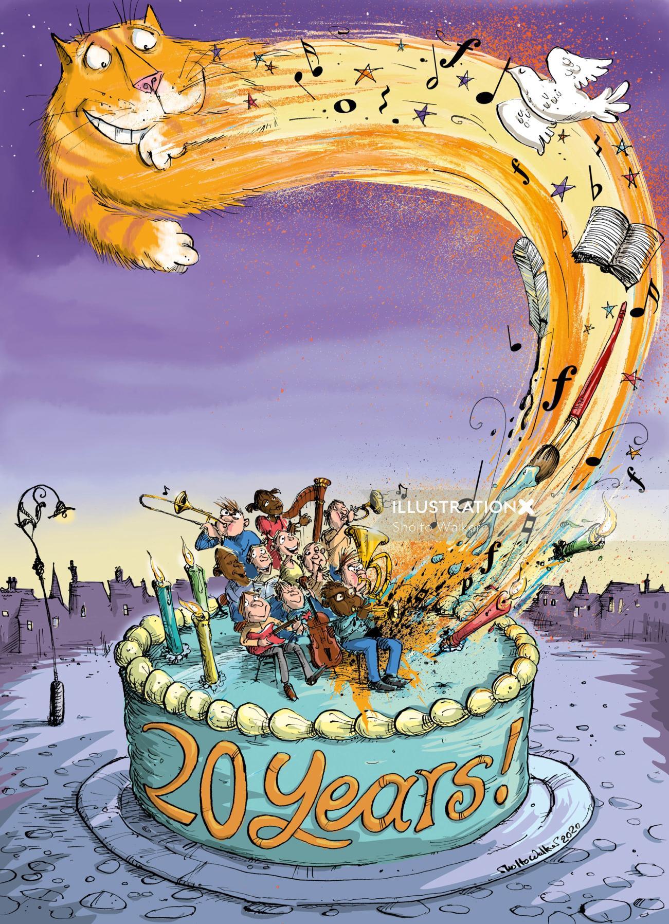 cartoon & Humour cat and giant cake