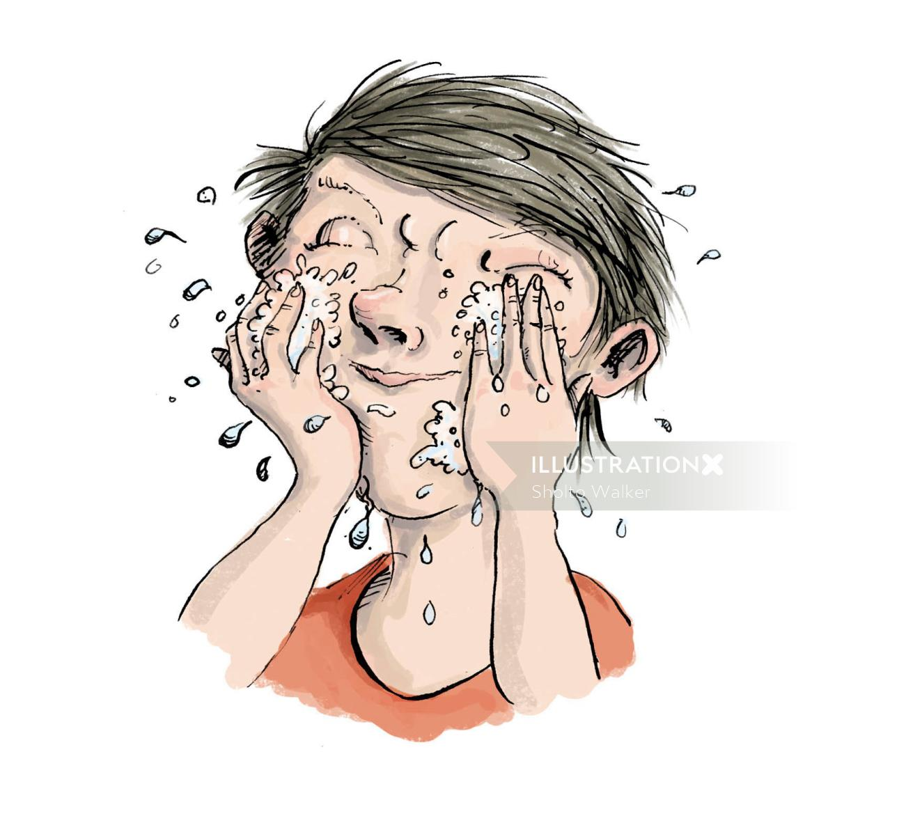 Comic illustration of boy washing his face