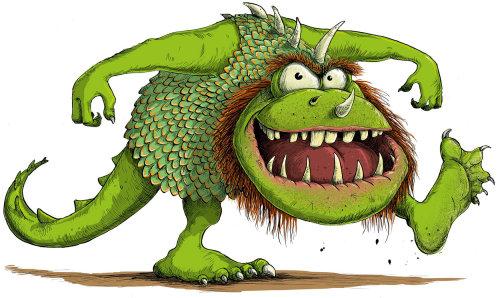 Comic illustration of Ugly green monster