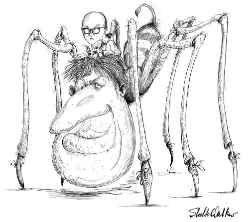 Hideous spider comic illustration