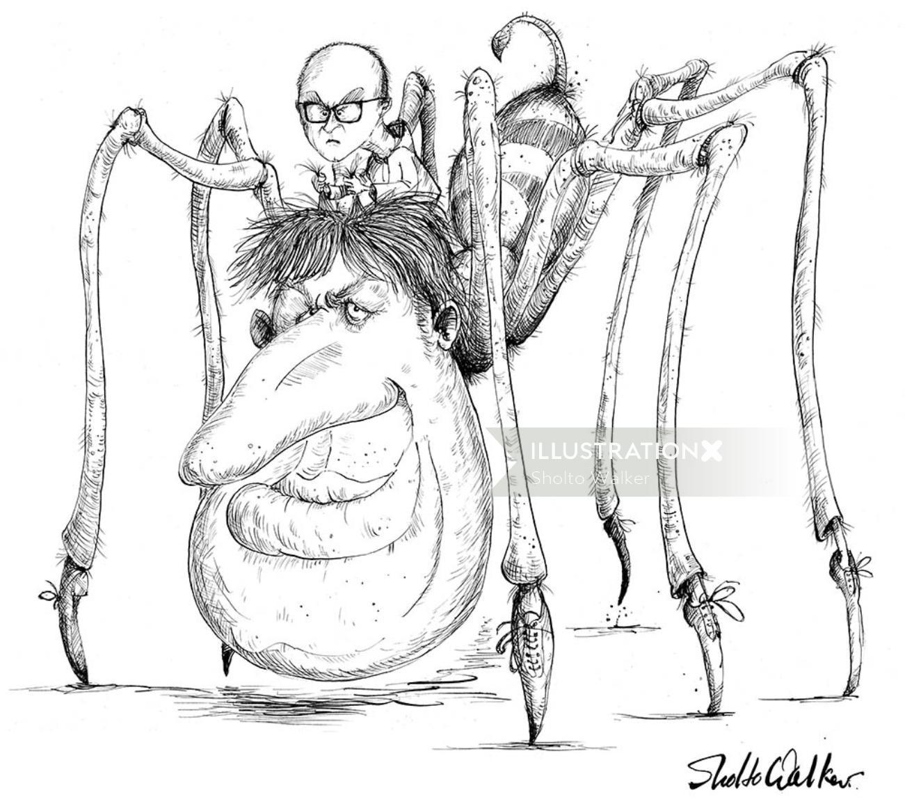 Hideous spider comic illustration