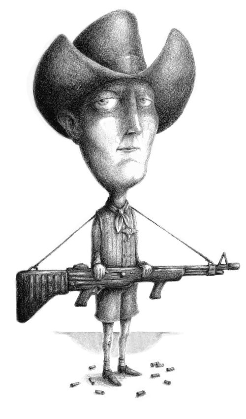 Fanstasy cowboy carrying a large automatic weapon.