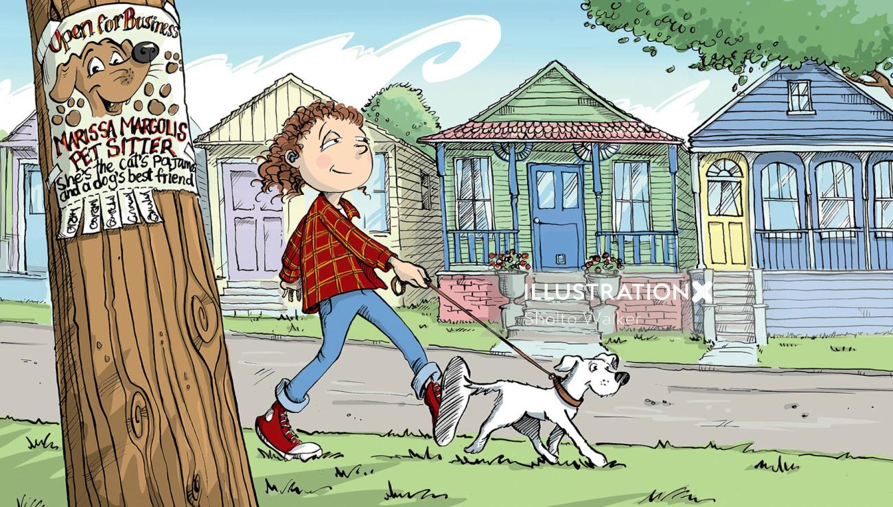 Cartoon & Humour Young girl walks her dog