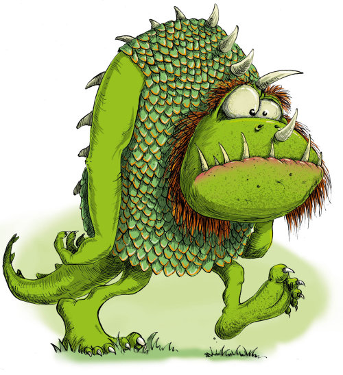 Cartoon & Humour green humourous monster