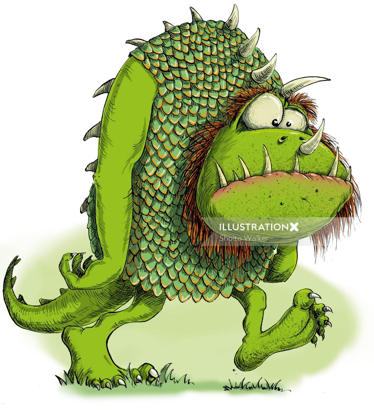 Cartoon & Humour green humourous monster
