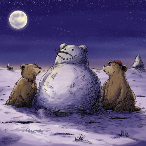 Animal Bear Cubs kneel in front of snowman