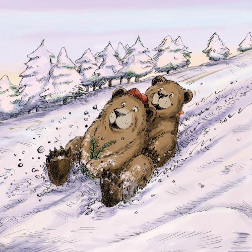 Bear cubs sliding in snowy hillside