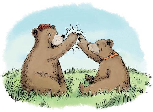 Cartoon Bear Cub slap palms