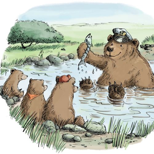 Animal Bear shows fishing to the bear cubs