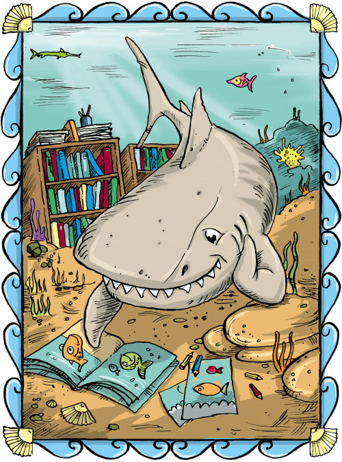 Cartoon Shark reading picture book