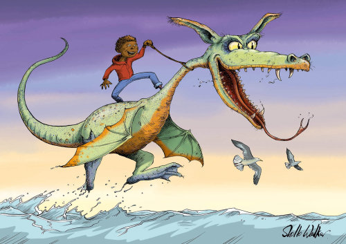 Humour art of African boy riding the Water Dragon