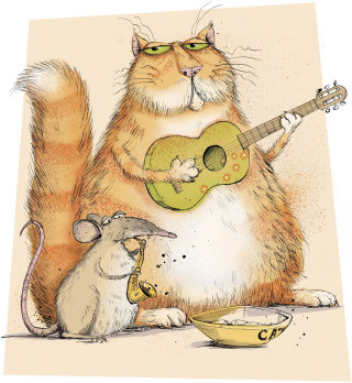 Cat with guitar and mouse - An illustration by Sholto Walker