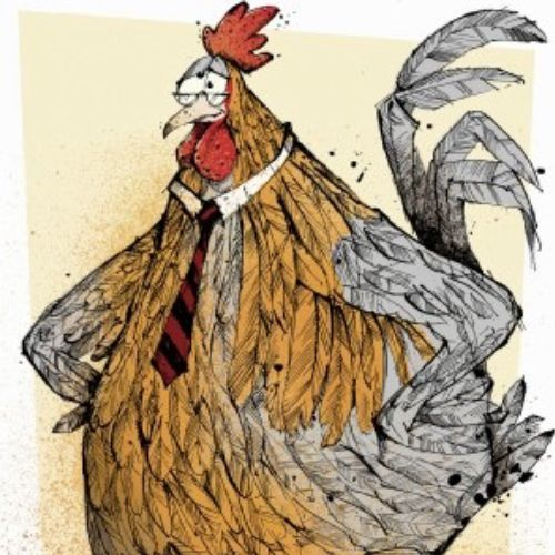 Cartoon cockerel illustration by Sholto Walker