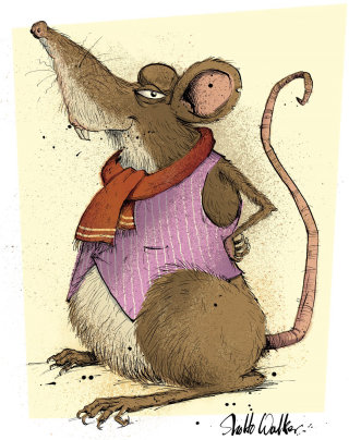 Rat character illustration by Sholto Walker