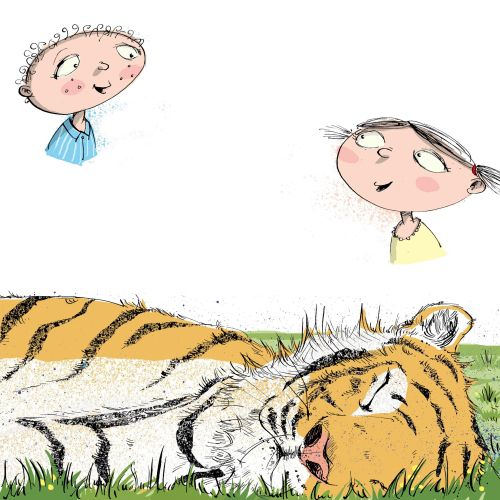 Cartoon & Humour  Two children a sleeping tiger