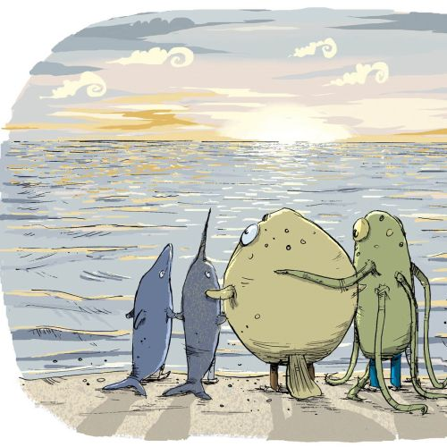Cartoon & Humour Family stare out to sea