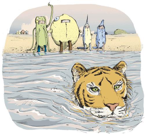 Ink illustration for a swimming Tiger