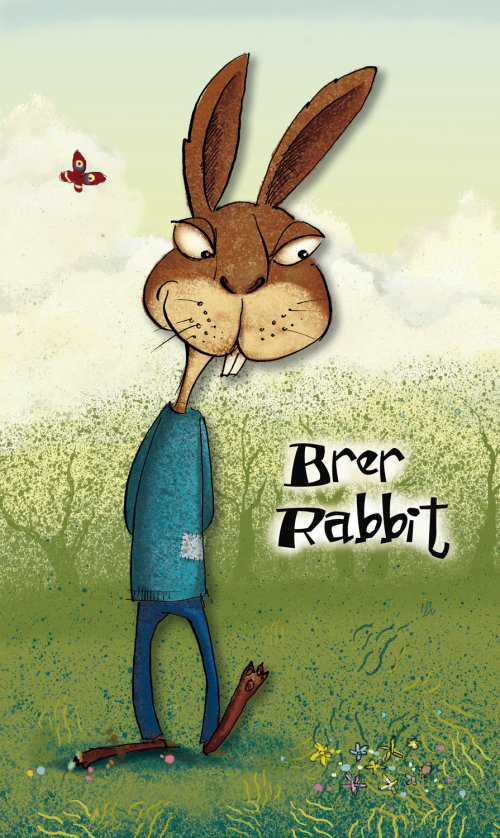 Humourous cartoon illustration of a rabbit