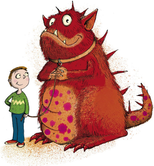 Monster and boy illustration by Sholto Walker