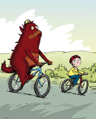 Monster and boy riding bicycle - Cartoon illustration by Sholto Walker