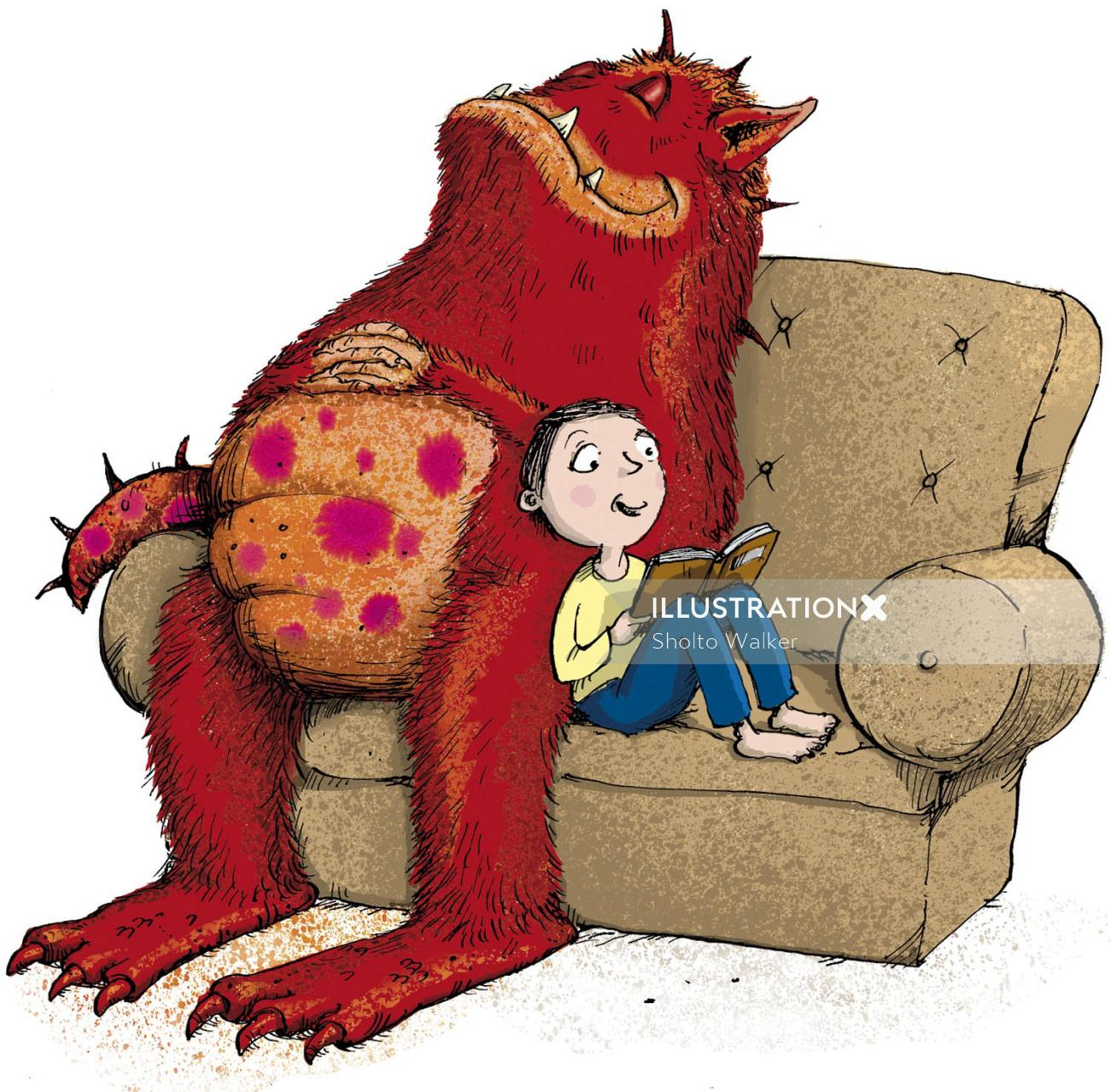 Boy and monster sitting in sofa - An illustration by Sholto Walker
