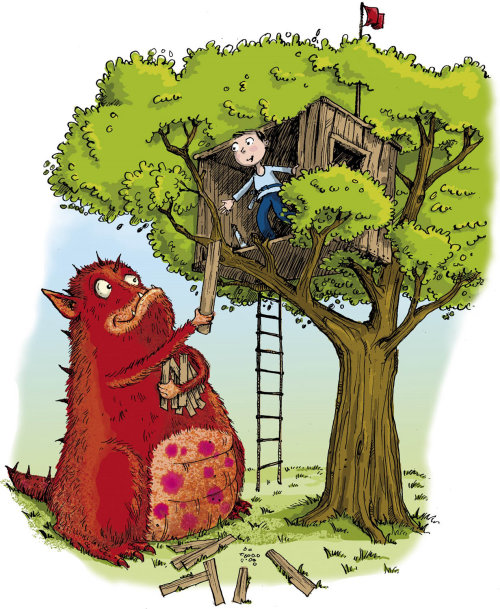 Boy and monster building a tree house - Cartoon illustration by Sholto Walker