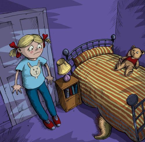 Scared girl character illustration