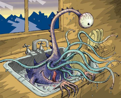 Monster in kitchen sink - An illustration by Sholto Walker