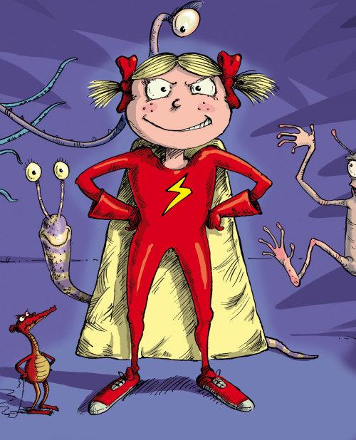 Young girl as supergirl comic artwork