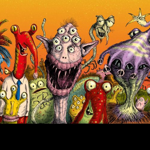 Watercolour painting of funny monsters