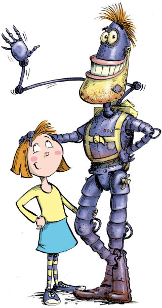 An illustration of robot & young girl standing together