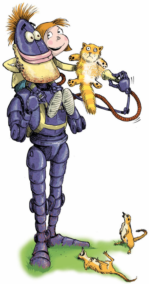 An illustration of purple robot with young girl and cat on shoulders