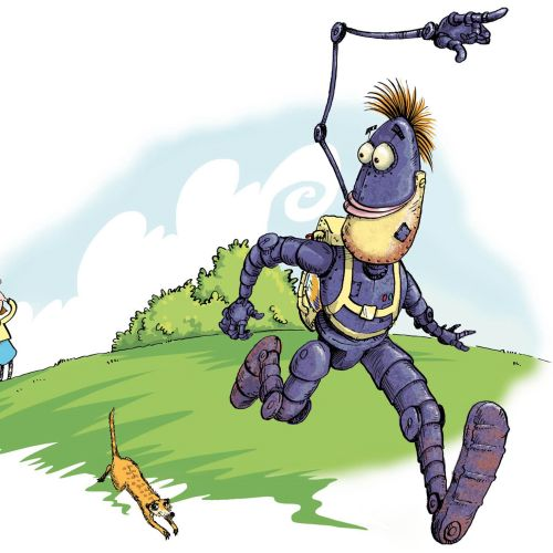 Illustration of robot and girl playing hide and seek