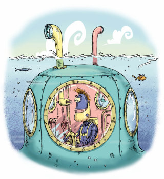 An illustration of purple robot driving a submarine